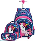 Meetbelify Girls Unicorn Rolling Backpacks Kids Backpack with Wheels for Girls School Bags with Lunch Box