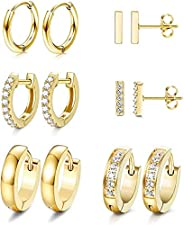 Subiceto 6 Pairs Hoop Huggie Earrings for Women Girls Minimalist Cuff Mini Bar Stud Earrings Gold Silver Cubic