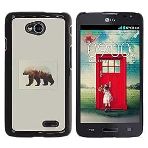 CASECO - LG Optimus L70 - Bear Aurora Borealis - Delgado Negro Plástico caso cubierta Shell Armor Funda Case Cover - Tenga Aurora Borealis