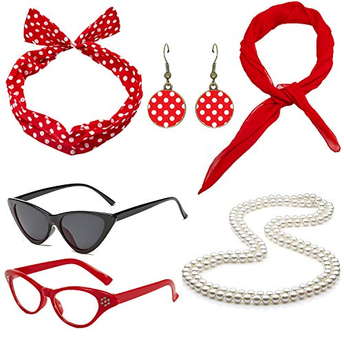 50's Costume Accessories Set Chiffon Scarf Cat Eye Glasses Bandana Tie Headband and Earrings (OneSize, Red2) from QNPRT