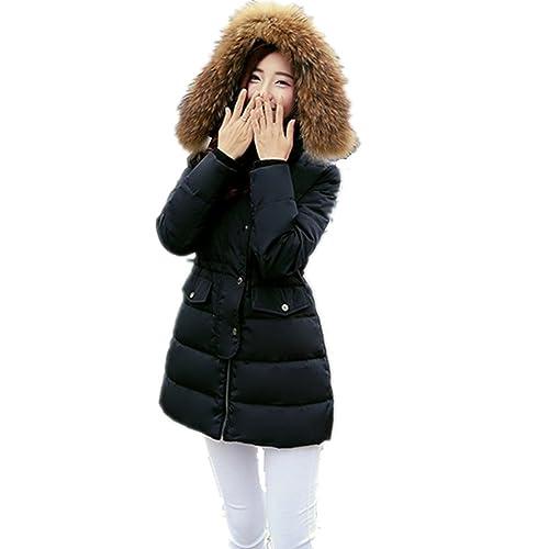 BOMOVO Abrigo Chaqueta Parka de mujer con capucha de pelo para invierno