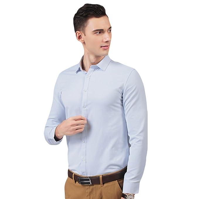 94c042f97 LINNUO Camisa para Hombre Manga Larga Camisas Clásicas de Negocios ...