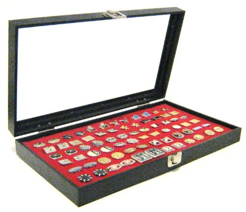 (Glass Top Red 36 Pair Cufflinks Jewelry Showcase Storage Organizer Display Case)
