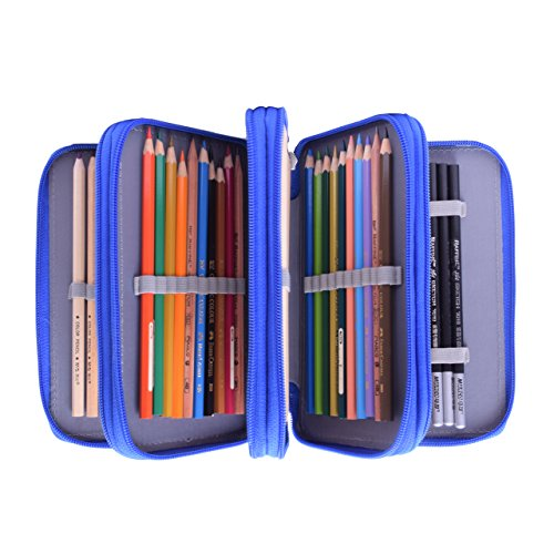 Colored Pencil Case, Newcomdigi 72 Pencil Case Bag Organizer Storage Large Capacity Pen Case Holder with Compartments Multi Layer Pen Pouch Portable For Boy Girl Student School Office Art Craft (Blue) by NEWCOMDIGI