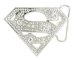 Superman Belt Buckle with Rhinestones
