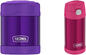 Thermos Funtainer 10 Ounce Food Jar, Violet & Pink Funtainer 12 Ounce Bottle