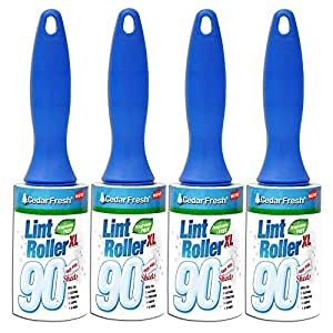 Household Essentials Cedar Fresh 90-Sheet Lint Rollers with E-Z Peel Sheets, 4-Pack