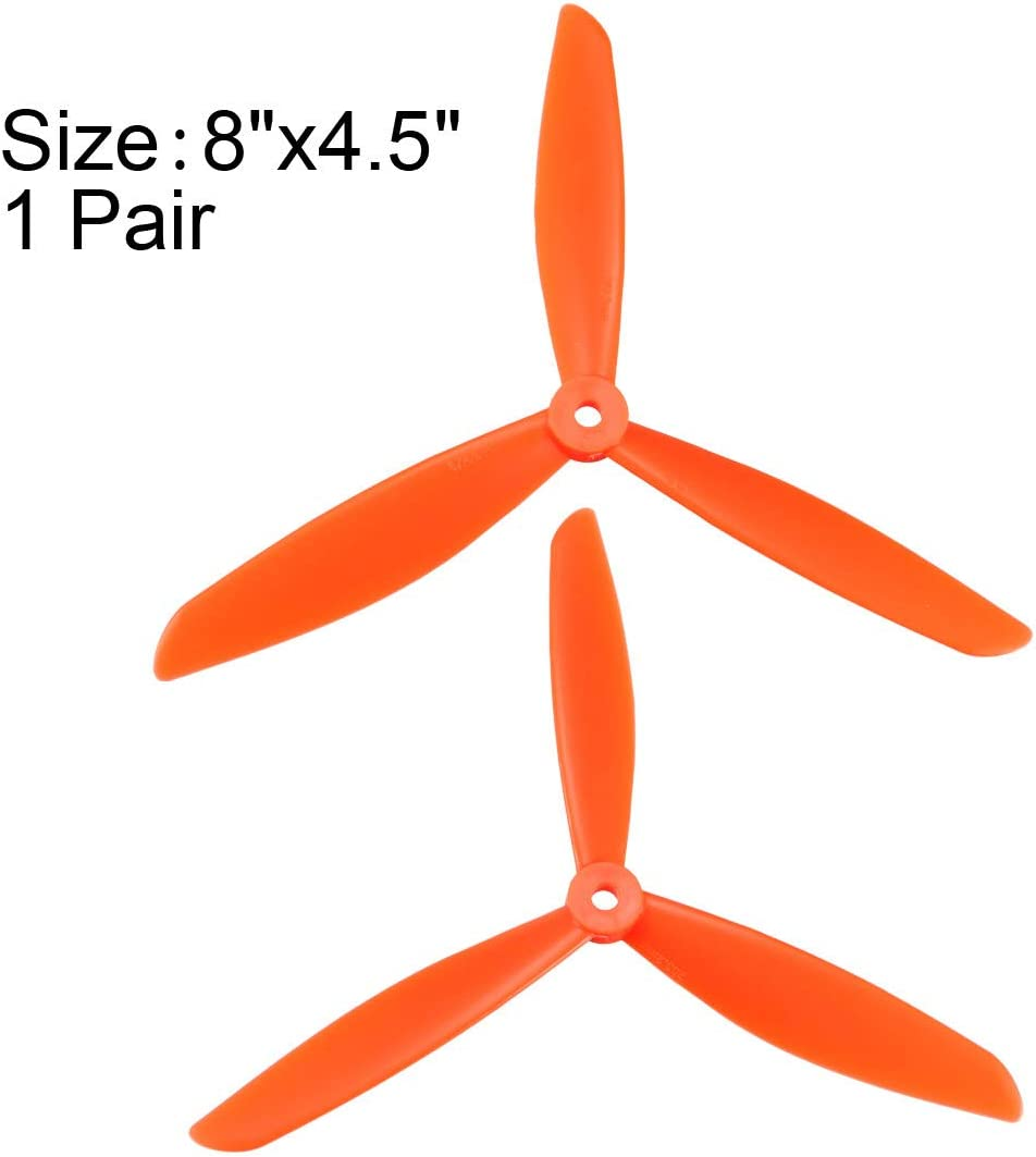 uxcell RC Propellers CW CCW 8045 8x4.5 Inch 3-Vane Multi-Rotor for Aircraft Toy Nylon Orange 1 Pair with Adapter Rings