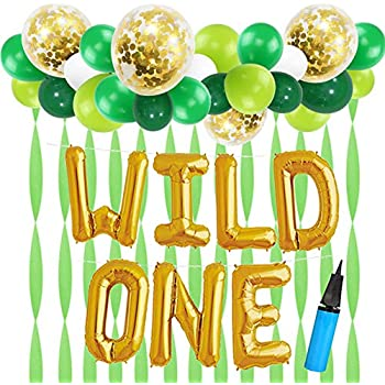 16 inch wild one kids first birthday balloons with 18 inch big gold confetti balloons baby girl boy 1st bday party supplies with air pump