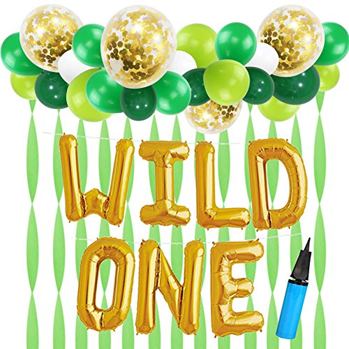 - 16 INCH WILD ONE Kids First Birthday Balloons with 18 Inch Big Gold Confetti Balloons, Baby Girl Boy 1st Bday Party Supplies with Air Pump