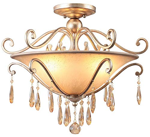 Crystorama 7525-DT Shelby - Three Light Ceiling Mount, Golden Shadow Hand Cut Crystal