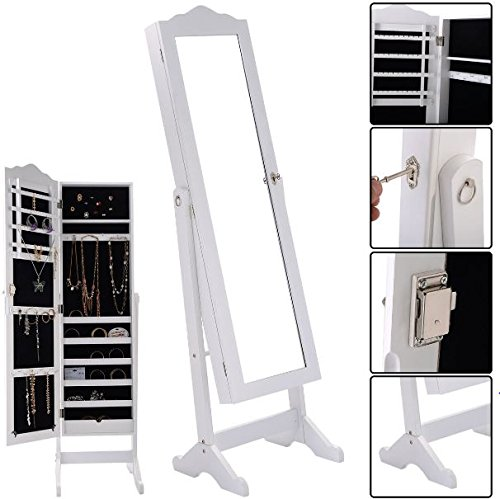 K&A Company Lockable Mirrored Jewelry Cabinet Organizer Armoire Storage Led Wall Box Mount Stand Lights Mirror Door Mounted Adjustable