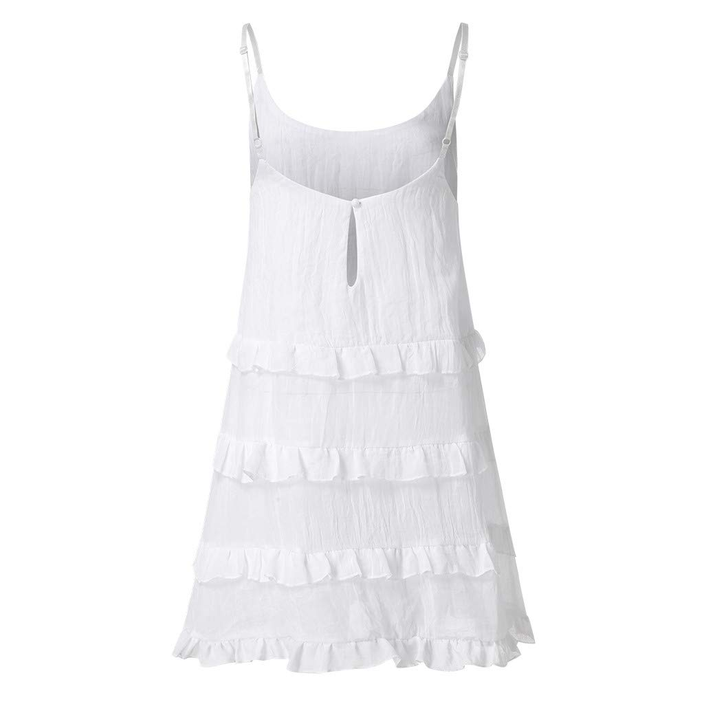 4Clovers Womens Casual Floral Boho Beach Mini Dress Spaghetti Straps Sleeveless Ruffles Hem Short Mini A Line Dress