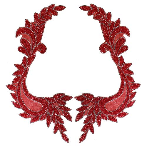 Beaded Crystal Leaf Hotfix Motif Rhinestone Sticker Patches Applique for Wedding Dress Clothes Decorated Sewing 1pair