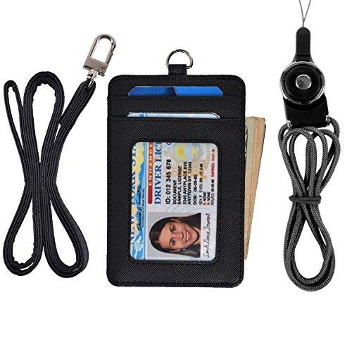 Slim Credit Card Holder Wallet Mens Women Leather Id Card Case Neck Wallet Pouch (Black)