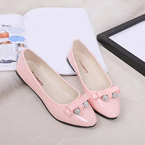 Voberry Pumps, Damen-Runde Zehen Ladise Shoes Casual Bowknot Low Heel Flache Schuhe Pink