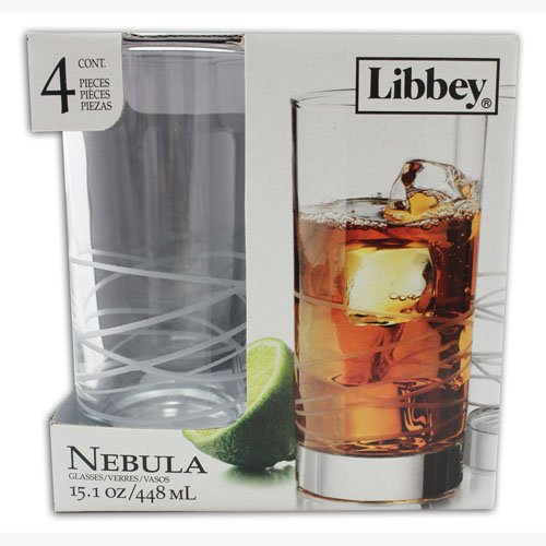Libbey Cooler Drinking Glasses, Etched Design, Nebula, 15.1 Ounces (Pack of 4)