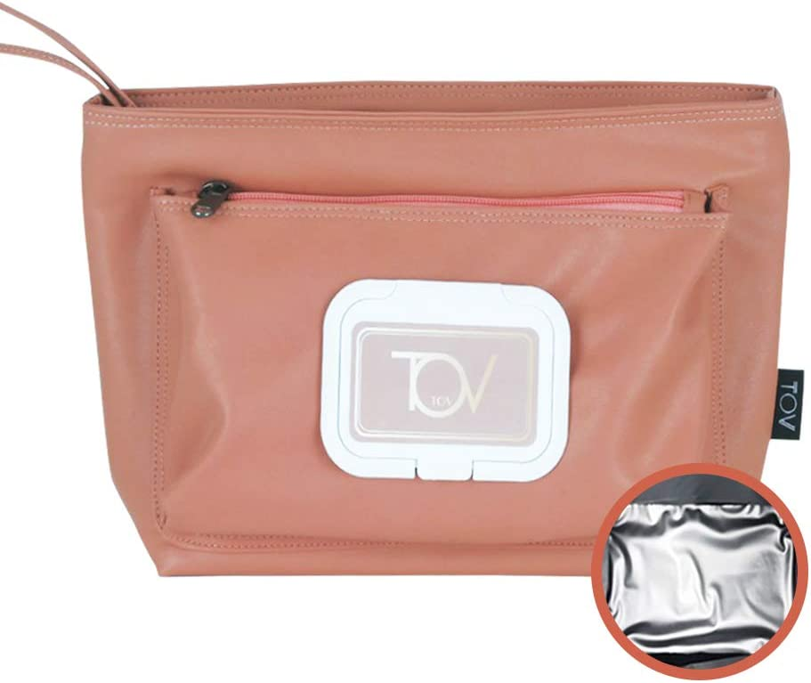 Soft leather insulated Reusable Eco Snack bag, Wipe dispenser pouch, Food Pouch, Portable Lunch bag, diaper Bag for mom, Dog treat pouch, Waterproof, Work, Picnics, Travel, Men, Woman (Pink)