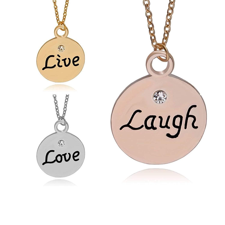 MayLove 3pcs Live Laugh Love Best Friend Lettering Pendant Charm Necklace Set Chain BBF Gift