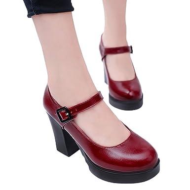 Mujer Bombas Zapatos De Vestir De PU Con Plataforma Zapatos De Tacón Alto Ancho Con Hebillas