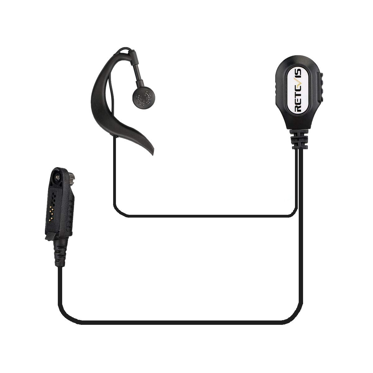 Negro, 1 Pack Retevis Auricular G-forma Pinganillo para Walkie Talkie Retevis RT82 RT87 DMR Radio Walkie Talkies