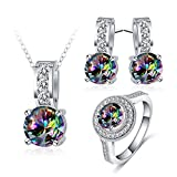 MoAndy Women Necklace Earrings Wedding Ring Set Jewelry Set Colorful Cubic Zirconia Birthday Gift Size 8