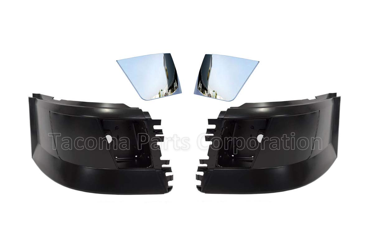 Set 2004-2015 and FREE Chrome Cover Trim Volvo Truck Bumper Corner Extension with Fog Light Hole