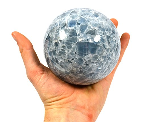 """Cool Blue Stone Crystal Aura Sphere, 4"""" Dia. (3.2lbs), Carved from Real North American Onyx Aragonite - The Artisan Mined Series by hBAR"""