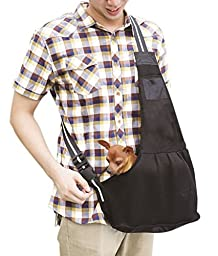 T Tocas( TM) Breathable Small Dog Hand-free Shoulder Carrier with Leash Hook, Washable Pet Mesh Sling Holder Bag (Large, Black)