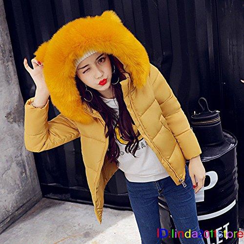 Womens Big Fur Coat Padded Jacket Winter Warm Down Yellow Short M Yellow XL Collar Hooded qgWqnZ1Cc
