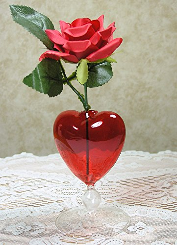 amazon com red heart vase and rose fabric rose that will last