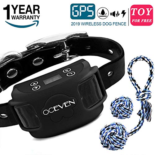 (OCEVEN Wireless Dog Fence System with GPS, Outdoor Invisible Pet Containment System Rechargeable Waterproof Collar EF851S, Black, for 15lbs-120lbs Dogs with 2pcs Toys for Free)