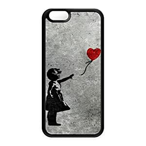 Banksy Girl with Heart Balloon Black Silicon Case Snap-On Protective Back Cover Rubber Case for Apple? iPhone 6 by Banksy + FREE Crystal Clear Screen Protector