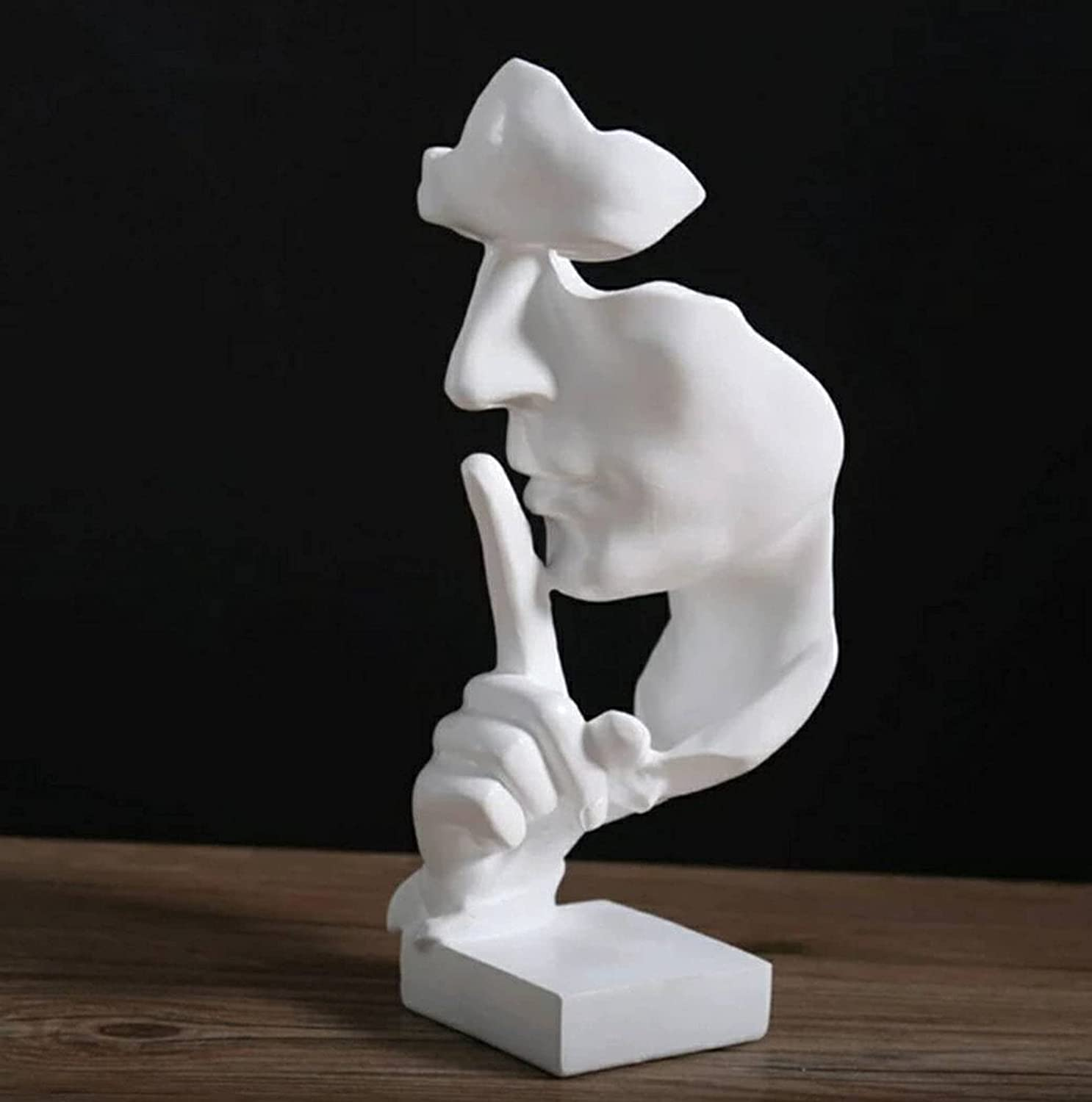 Silence is Golden Thinker Statue, Creative Abstract Figurine, Handcraft Resin Sculptures Decorative Objects for Entrance, Creative Room Home, Study, Piano, Modern Office Decor (White)