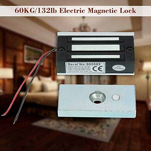 KKmoon 60KG/132lb Electric Magnetic Lock Fail Secure NC 12V for Door Entry Access Control System Electric Lock Door Control System
