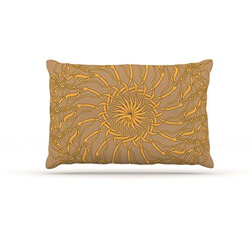 Kess InHouse Patternmuse Mandala Spin Latte  Brown Yellow Fleece Dog Bed, 30 by 40