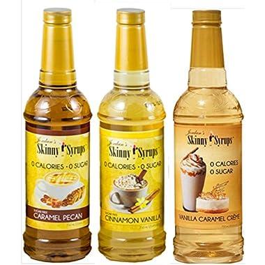 Jordan's Skinny Syrups New Favorites Collection - Caramel Pecan, Cinnamon Vanilla, Vanilla Caramel Creme