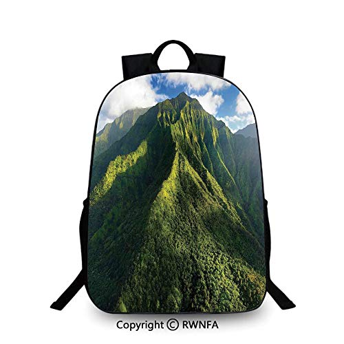 Kids School Backpack,Aerial View of Jungle Forest on the Mountains Tropical Exotic Hawaii Nature Look Plain Bookbag Travel Daypack Green Blue White