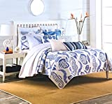 Ocean Treasures Queen Quilt Set - White with Large Navy Blue Coastal Seashells, Starfish, Seahorse Tropical Fish and Under Sea Plant Life - Reversible Cotton 3pc Set