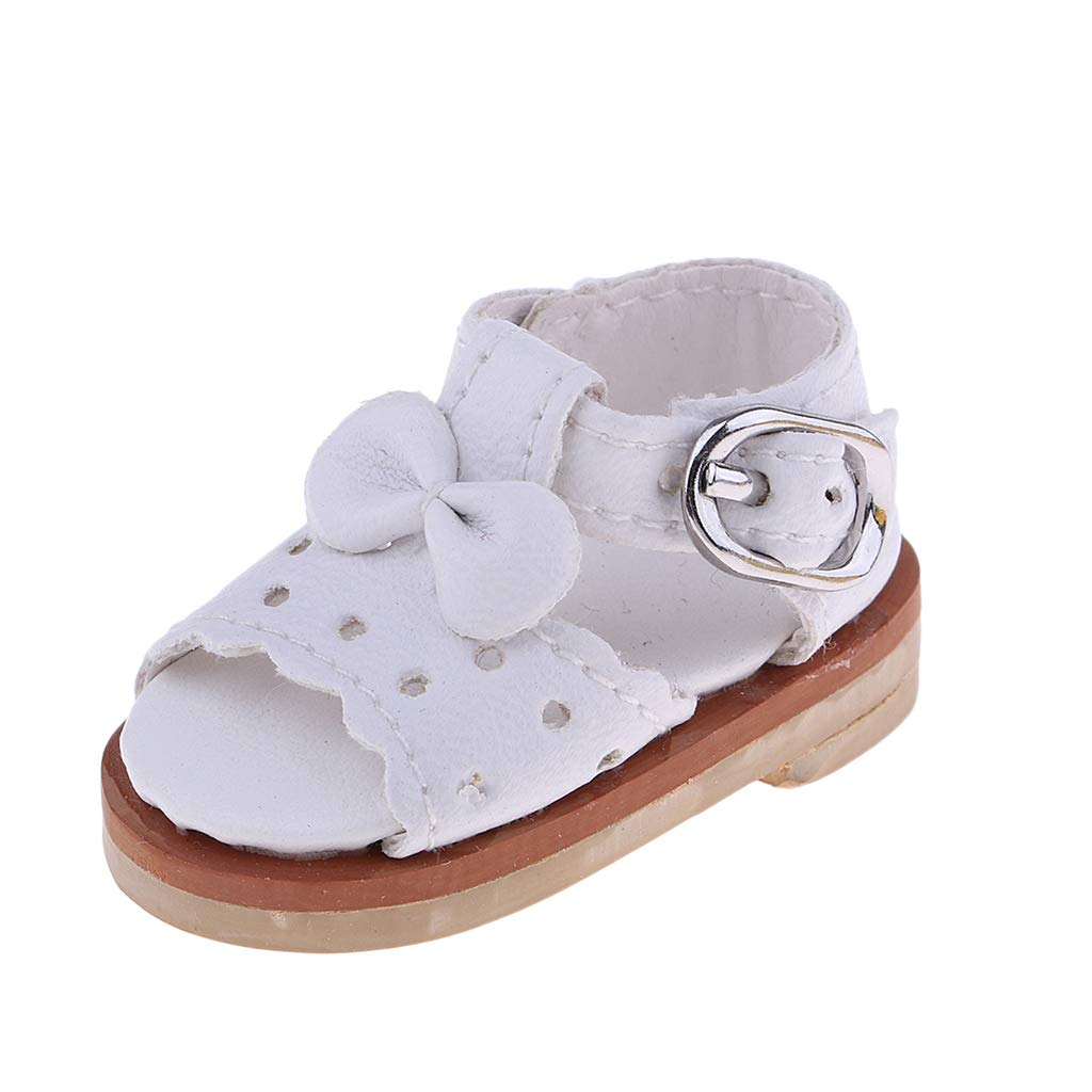 D DOLITY 1:6 PU Leather Shoes Bowknot Shoes Sandals For SD BJD YOSD LUTS DZ Dolls Clothing Outfit Accessory White
