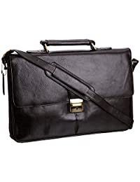 Visconti 18074 Classic Large Mens Leather Briefcase / Laptop Bag Business Style Messenger Bag Case (Black)