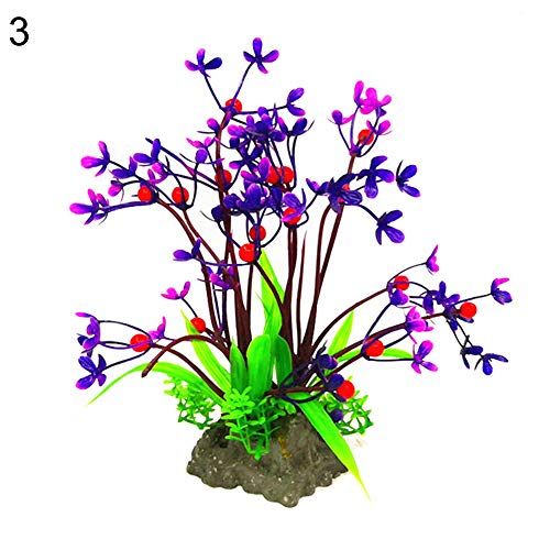 LOadSEcr's Fakeflowers Decor, Aquarium Fish Tank Artificial Grass Aquatic Plant Leaf Ornament Hanging Flowers, DIY Wedding Bouquets Party Home Decorations - 3#