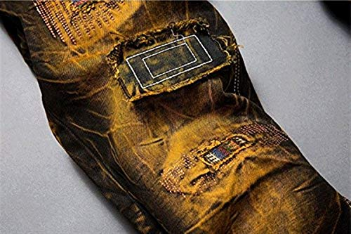 Distrutto Torn Pants Jeans In Pantaloni Vintage Uomo Skinny Denim Biker Fit Dritti Da Retrogelb Hig Dall'aspetto Patches OZZHnB0xvw