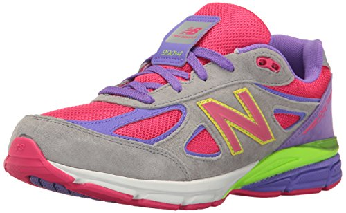 reputable site e5b5b f7eee New Balance Girls' 990v4 Running Shoe, Grey 1/Pink, 2 XW US Infant