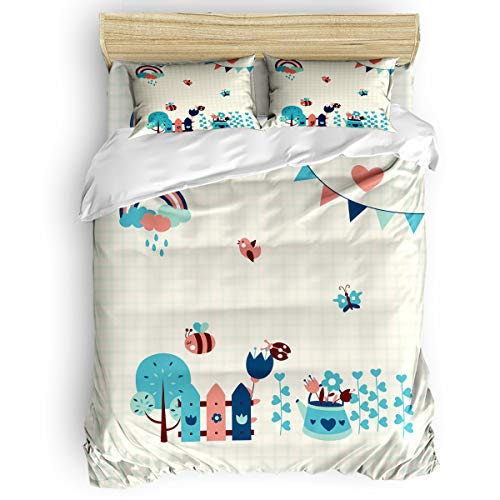Arts Language Home Duvet Cover Set King Size for Kids/Adults/Teens Cartoon Ladybug Cute Pattern Soft 4 Pcs Bedding Set with Duvet Cover, Fitted Sheet, Pillowcases