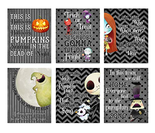 Nightmare Before Christmas Themed Character Wall Art Decor (Set of Six) Halloween Song Prints -