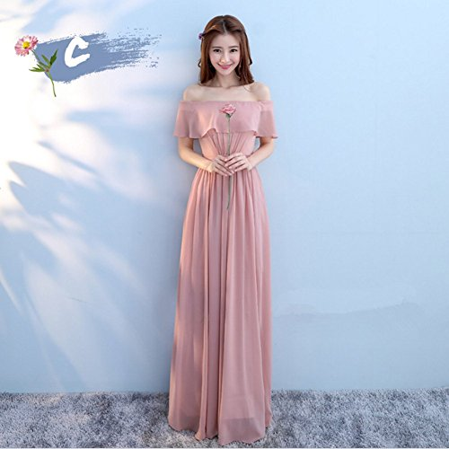 Pink Elegant Different C Different Bandeau Dresses Women's Dress Bridesmaid Prom Party Chiffon Ufatansy Dress Gown Evening Styles 5wHZWqWnR
