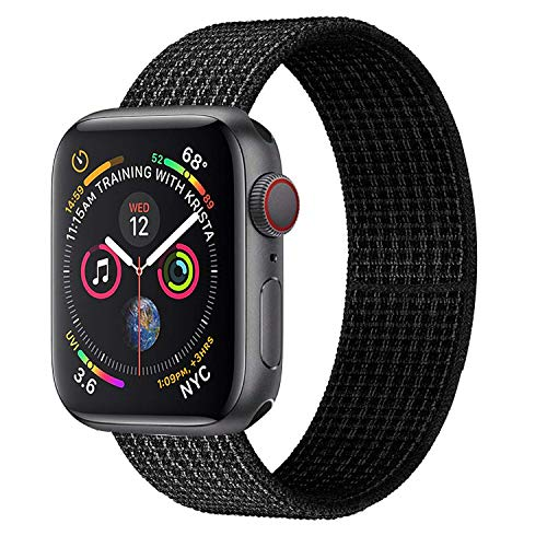 Watch Date Series - Muzzai Nylon Sport Band Compatible for Apple Watch Bands 38mm 40mm 42mm 44mm, Soft Lightweight Breathable Nylon Loop Replacement Wristband Compatible for Apple Watch iWatch Series 4/3/2/1
