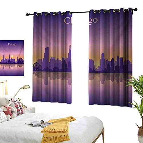 Warm Family White Curtains Chicago Skyline,Sunset in Illinois American Horizon Behind High City Silhouettes,Purple Apricot Pink 84