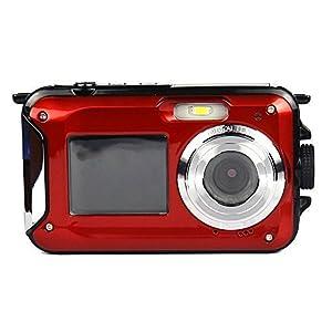 PowerLead PLDH21 Double Screens Waterproof Digital Camera 2.7-Inch Front LCD Easy Self Shot Camera(red)